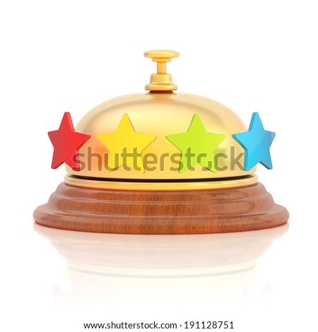 Hotel's reception golden bell with four colorful stars around it, over the white surface with reflections - stock photo