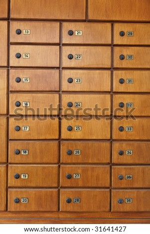 Hotel series of wooden lockers with numbering