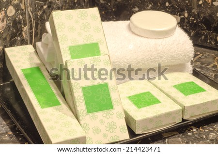 Hotel set kit in hotel bathroom: Actual photography in hotel environment  - stock photo