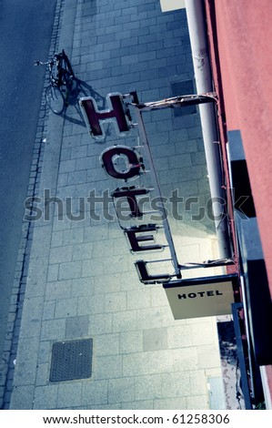 Hotel sign as seen from above. Useful file for your brochure, flyer and site regarding your hotel activity. - stock photo