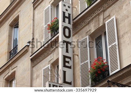 Hotel sign in Paris - stock photo