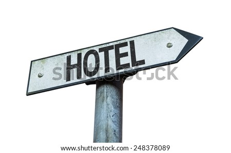 Hotel sign isolated on white background - stock photo