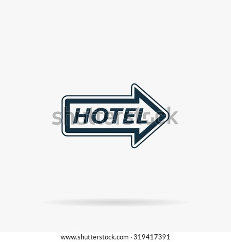 Hotel signboard . Flat web icon or sign on grey background with shadow. Collection modern trend concept design style illustration symbol - stock photo