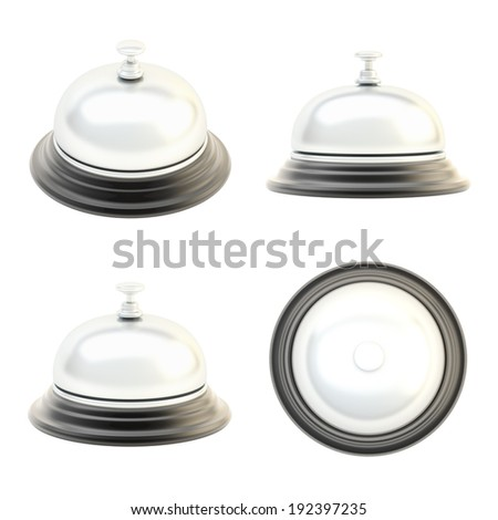 Hotel silver reception bell isolated over the white background, set of four foreshortenings - stock photo