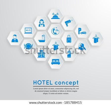 Hotel travel accommodation emblem concept with icons blue on white hexagonal shape set isolated  illustration - stock photo