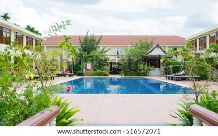 Hotel with pool, Cambodia