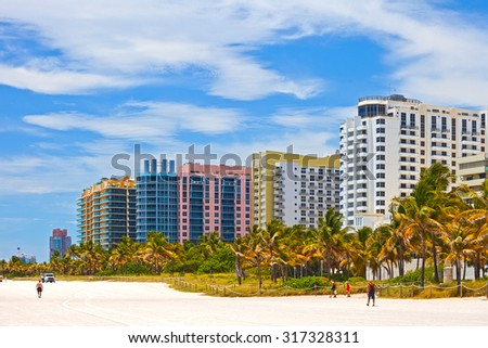 Hotels and residential buildings on the beach in Miami Florida - stock photo