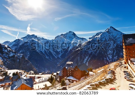 Hotels in French Alps - stock photo