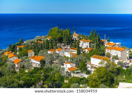 Hotels of the first line resor in Montenegro over the Adriatic Sea