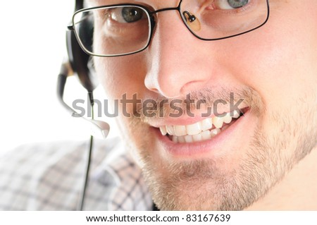 Hotline - Friendly Young Man with Headset - stock photo