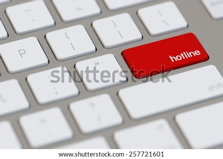 Hotline symbol on red key on a computer keyboard (3D Rendering) - stock photo