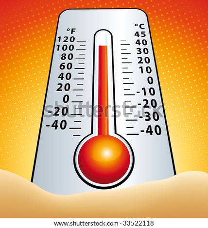 Hotness thermometer in the sand illustration