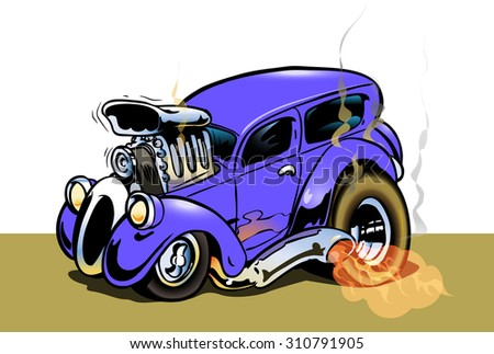 Hotrod with big engine and smoking tires - stock photo