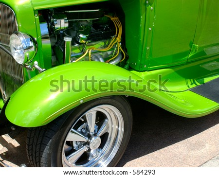 hotrod with hood open - stock photo