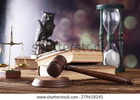 hour glass, justice scale, mallet and books - stock photo