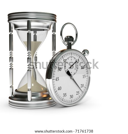 hourglass and stopwatch - stock photo