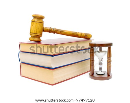 hourglass, books and judges gavel isolated on white background - stock photo
