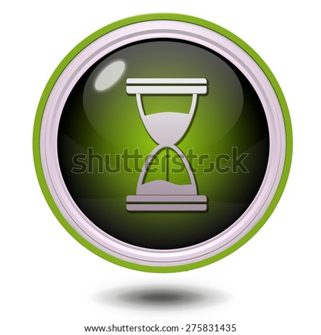 Hourglass circular icon on white background