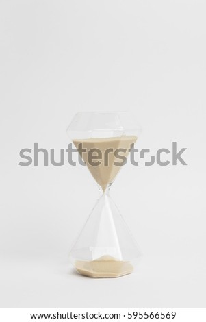 hourglass closeup on white background