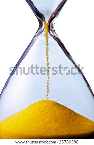 hourglass closeup shot (isolated - white background) - stock photo