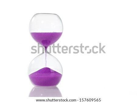 Hourglass, Coloured Line Up on White Background (Pink, Green, Blue, Red, Yellow) - stock photo
