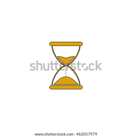 hourglass Flat yellow thin line pictogram on white background. Illustration icon