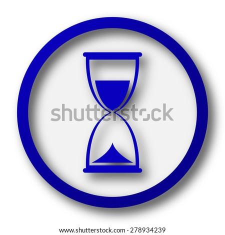 Hourglass icon. Blue internet button on white background.  - stock photo