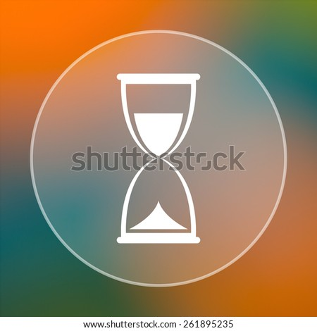 Hourglass icon. Internet button on colored  background.