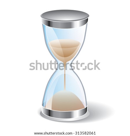 Hourglass icon isolated on white background. Sand clock icon 3d illustration. - stock photo