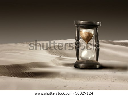 hourglass in a desert
