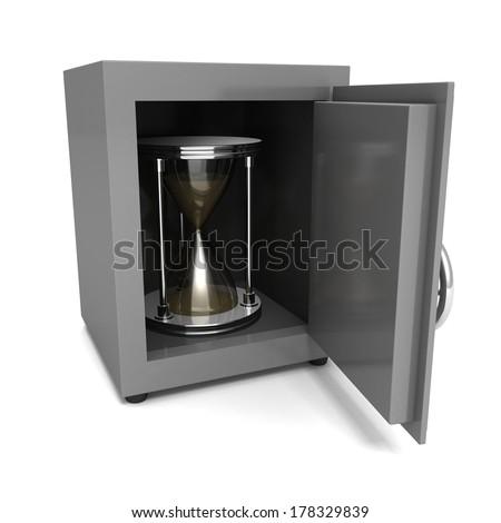 hourglass in bank steel money safe - stock photo