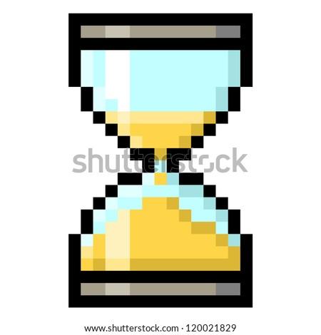 Hourglass in Big Pixels; Sand glass; Pixel Art - stock photo
