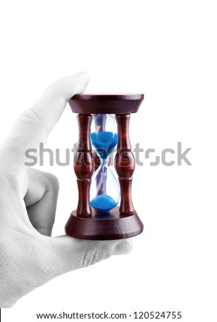 Hourglass in hand and time is non-stop. White background