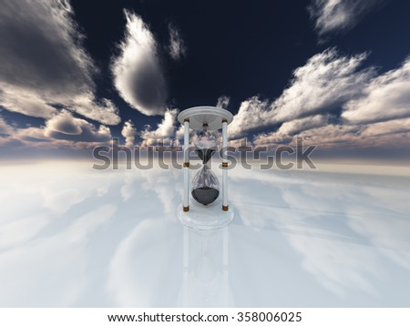 Hourglass in white landscape - stock photo