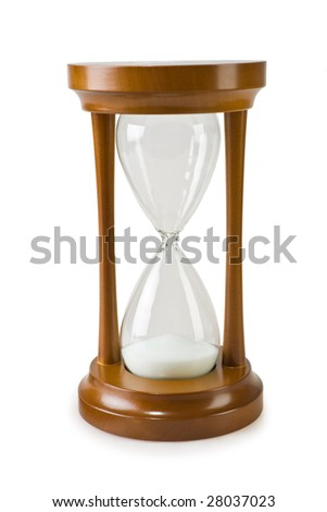 hourglass isolated on a white backgrond - stock photo