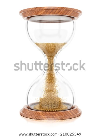 Hourglass isolated on white background. 3d rendering image - stock photo