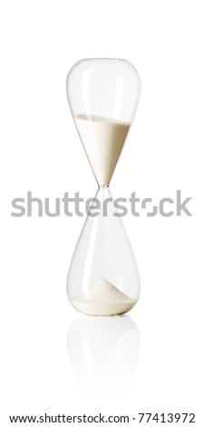 Hourglass isolated on white reflective background.