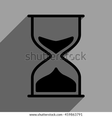 Hourglass long shadow glyph icon. Style is a flat hourglass black iconic symbol on a gray square background with longshadow.