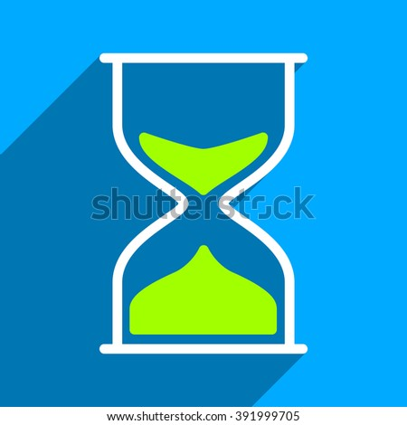 Hourglass long shadow glyph icon. Style is a flat hourglass iconic symbol on a blue square background.