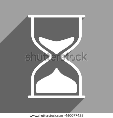 Hourglass long shadow glyph icon. Style is a flat hourglass white iconic symbol on a gray square background.