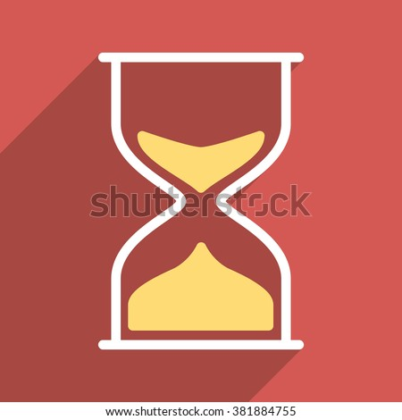 Hourglass long shadow glyph icon. Style is a flat light symbol with rounded angles on a red square background.