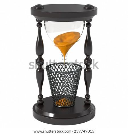 Hourglass on a white background. Time lost in vain. The sand is poured in the trash - stock photo