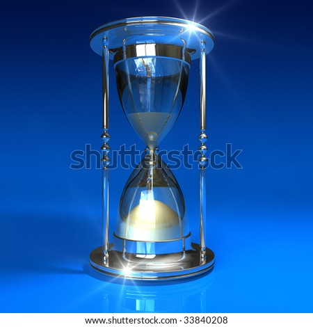 Hourglass on blue - stock photo
