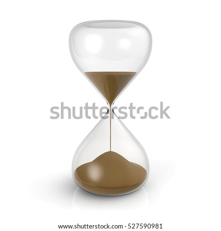 Hourglass on white background 3D rendering
