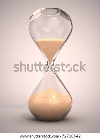 hourglass, sandglass, sand timer, sand clock 3d illustration - stock photo