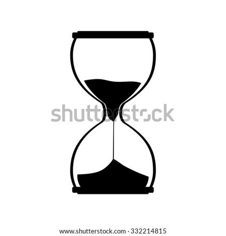 Hourglass silhouette raster icon. Sand watch. Sand glass. Sand clock - stock photo