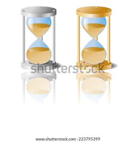 Hourglass silver and golden color.