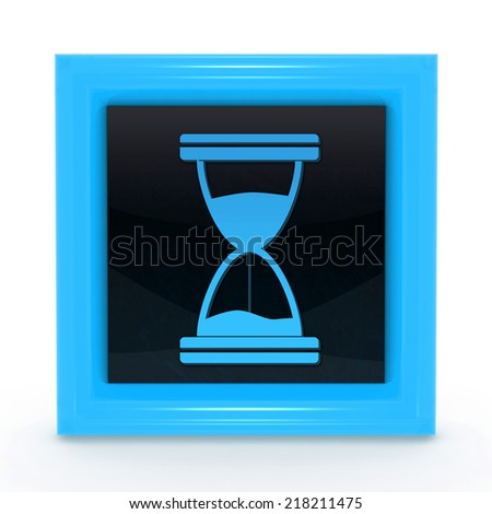 Hourglass square icon on white background