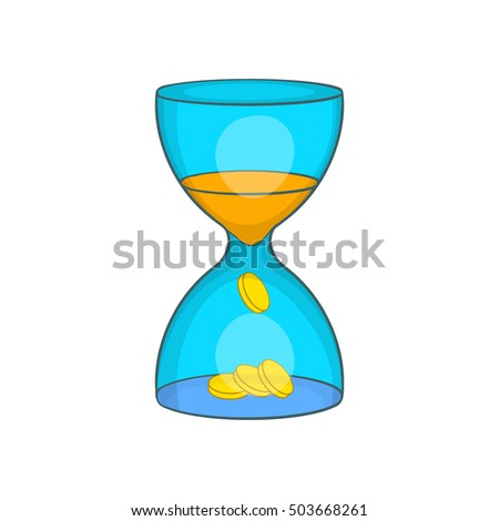 Hourglass, time is money icon in cartoon style isolated on white background  illustration