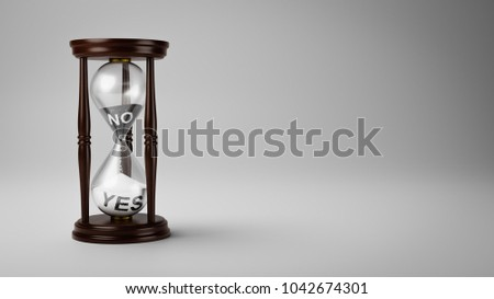 Hourglass with Black and White No and Yes Text in the Sand on Gray Background with Copyspace 3D Illustration, Change Opinion Over Time Concept